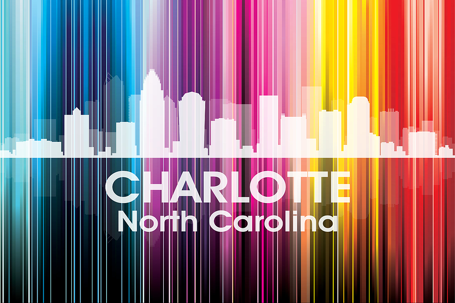 City Silhouette Mixed Media - Charlotte Nc 2 by Angelina Vick