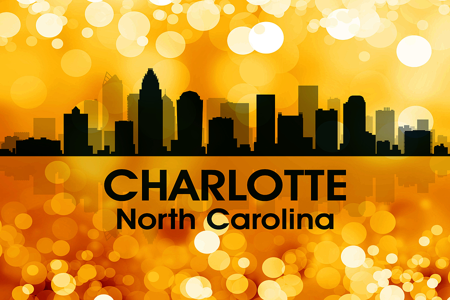 City Silhouette Digital Art - Charlotte Nc 3 by Angelina Vick
