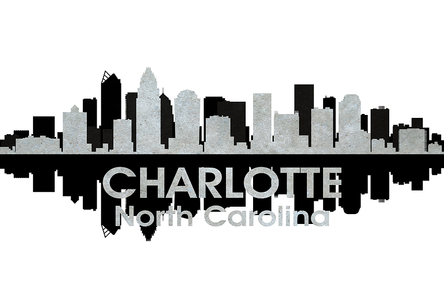 City Silhouette Mixed Media - Charlotte Nc 4 by Angelina Vick