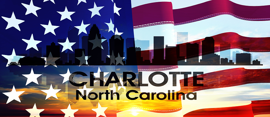 City Silhouette Mixed Media - Charlotte Nc Patriotic Large Cityscape by Angelina Vick