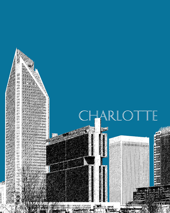 Architecture Digital Art - Charlotte Skyline 1 - Steel by DB Artist
