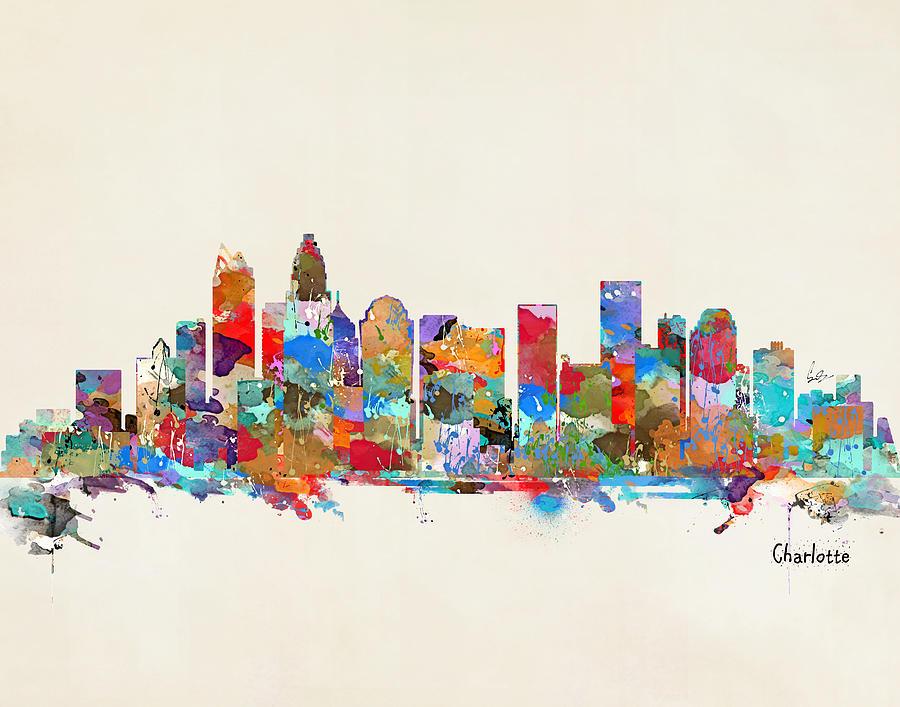 Watercolors Painting - Charlotte Skyline North Carolina by Bri Buckley