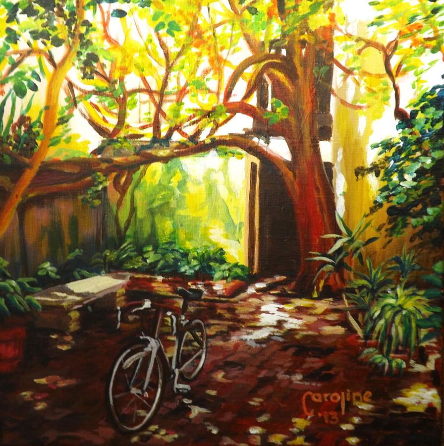 St. Augustine Painting - Charlotte Street Courtyard by Caroline Conkin