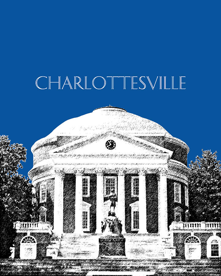 Architecture Digital Art - Charlottesville Va Skyline University Of Virginia - Royal Blue by DB Artist