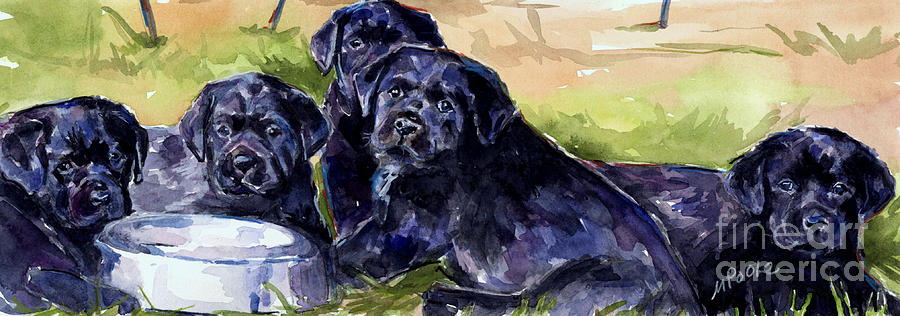 Puppies Painting - Charm School by Molly Poole
