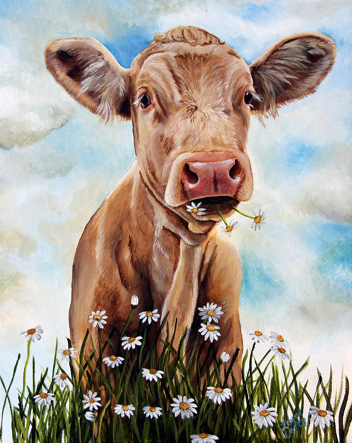 Charolais Painting - Charolais Lunch by Laura Carey