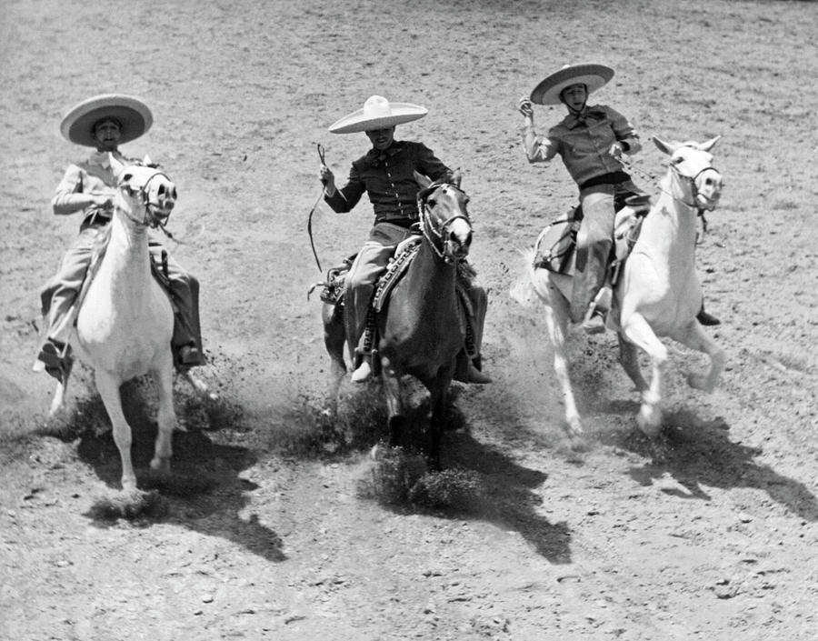 Charros At Charreada by Underwood Archives