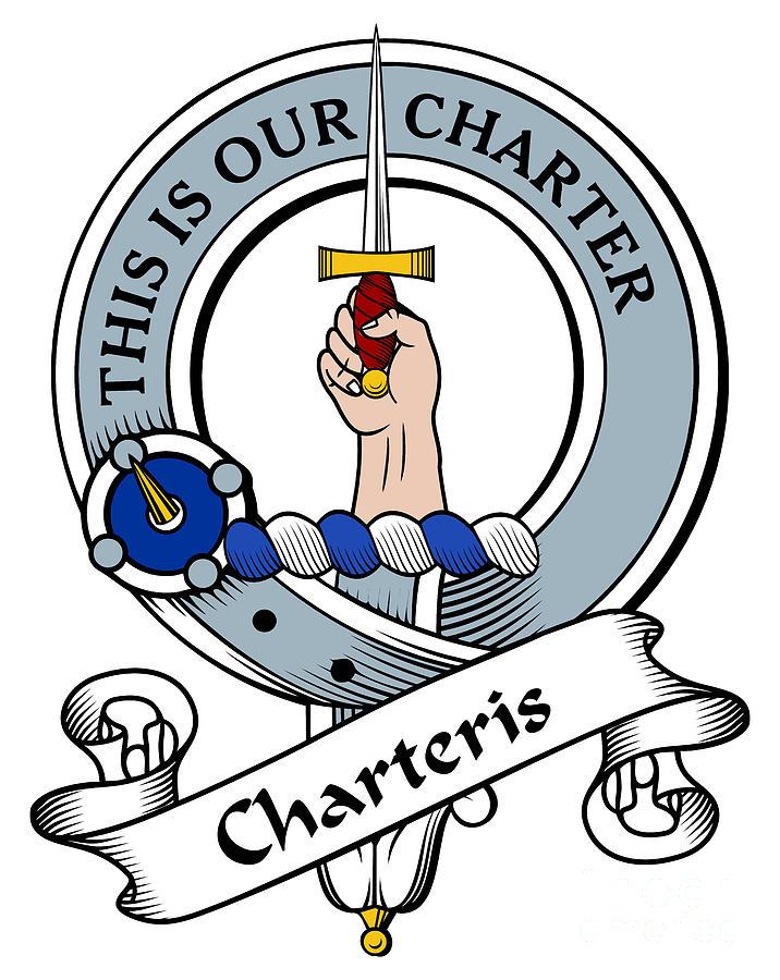 Charteris Clan Crest Drawing - Charteris Clan Badge by Heraldry