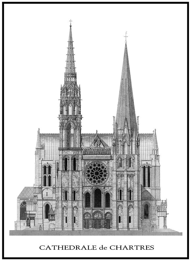 Cathedral Digital Art - Chartres Cathedral by Daniel Hagerman