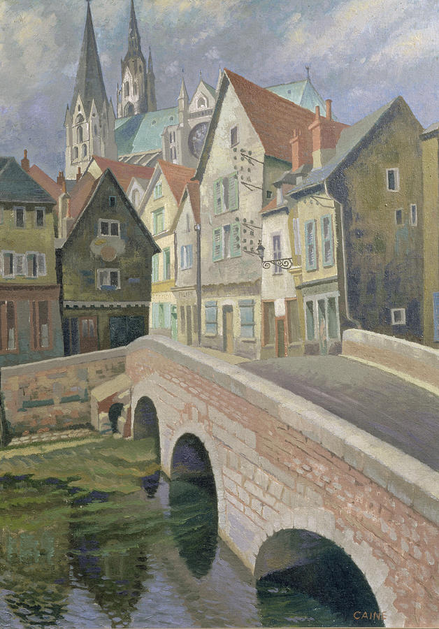 Street Scene Painting - Chartres by Osmund Caine
