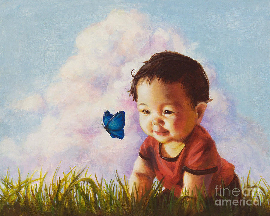 Baby Painting - Chasing Butterfiles by Isabella Kung