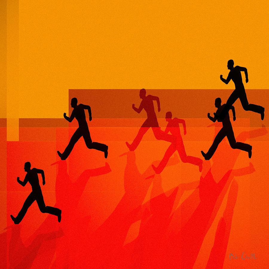 Abstract Painting - Chasing Shadows by Bob Orsillo