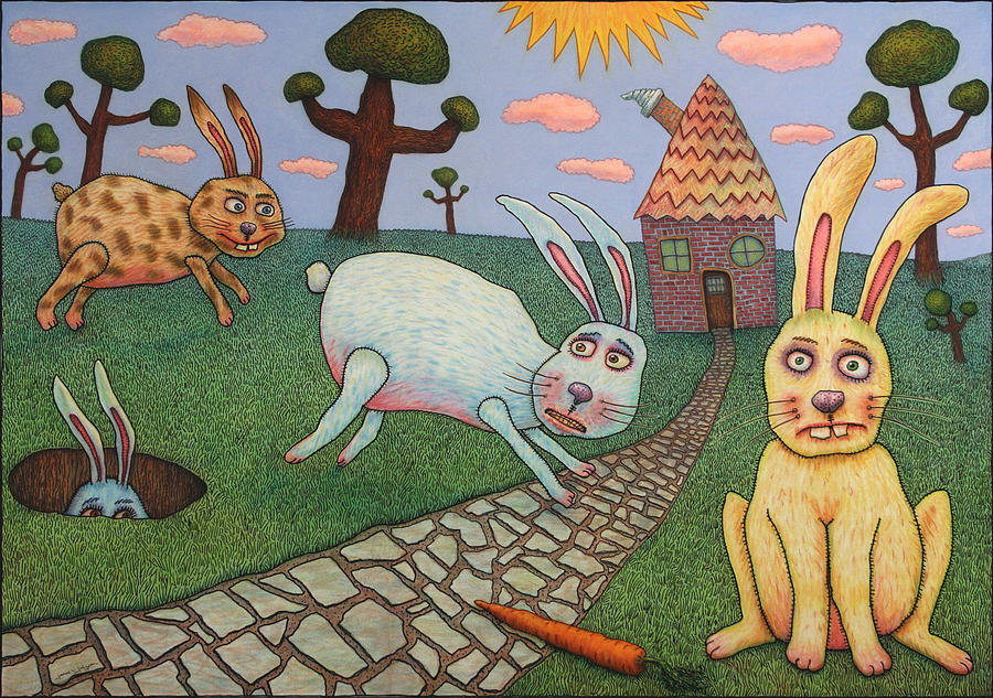 Rabbits Painting - Chasing Tail by James W Johnson