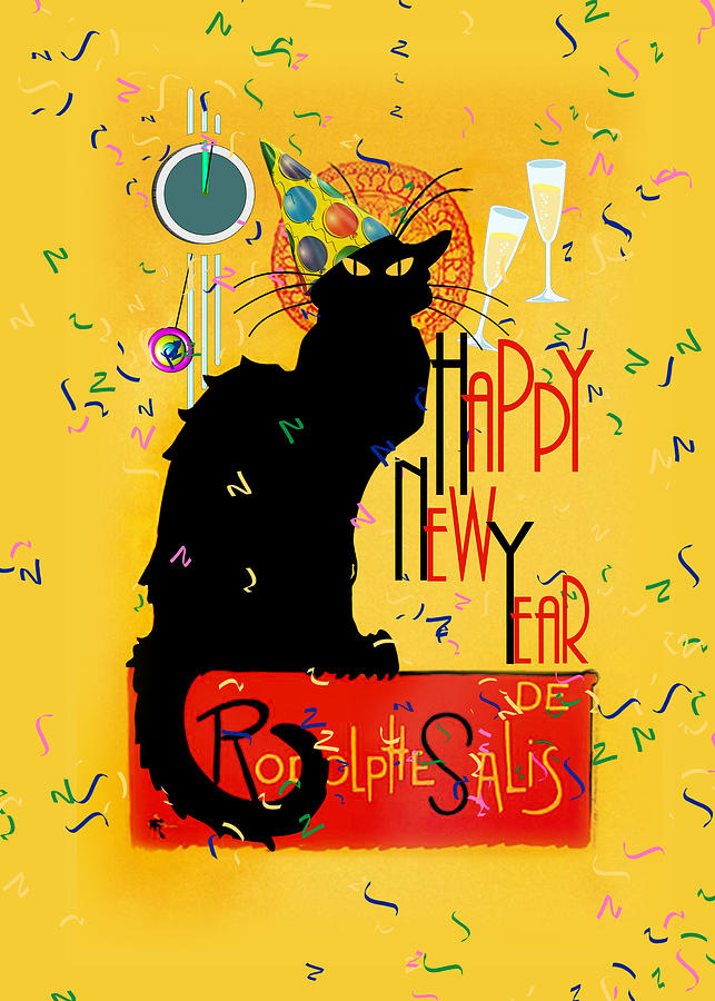 Le Chat Noir Digital Art - Chat Noir New Years Party Countdown by Gravityx9  Designs