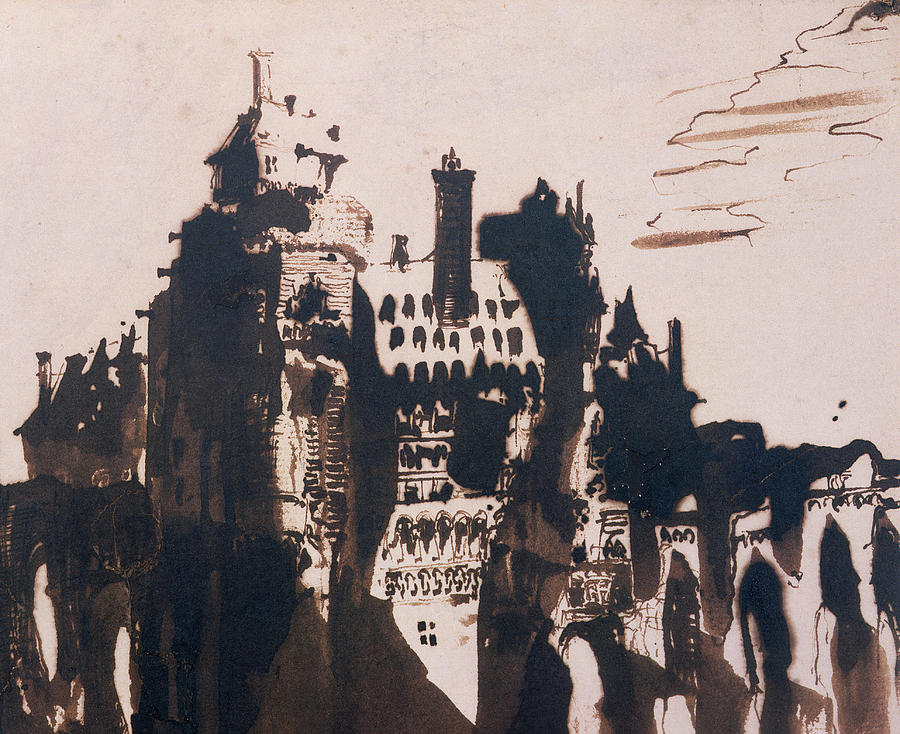 Bridge Painting - Chateau Fortified By Two Bridges by Victor Hugo