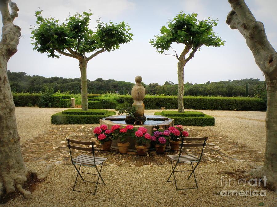France Photograph - Chateau Malherbe Fountain by Lainie Wrightson