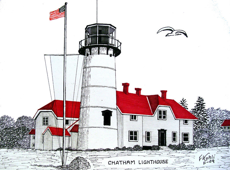 Pen And Ink Lighthouse Art Drawing - Chatham Lighthouse Drawing by Frederic Kohli