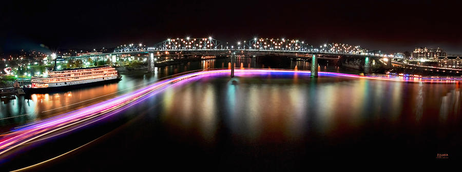 Lights Photograph - Chattanooga Holiday Boat Parade by Steven Llorca