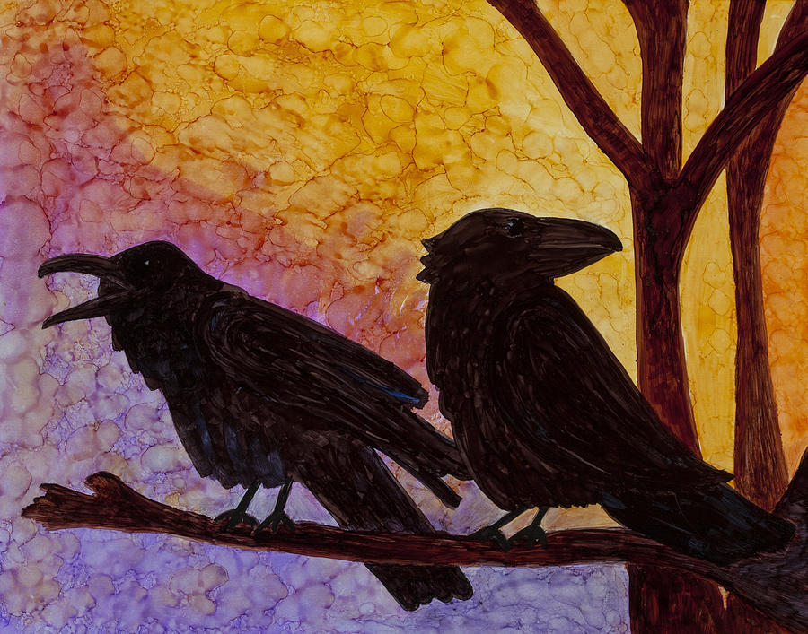 Raven Painting - Chatter What by Jennifer Fielder