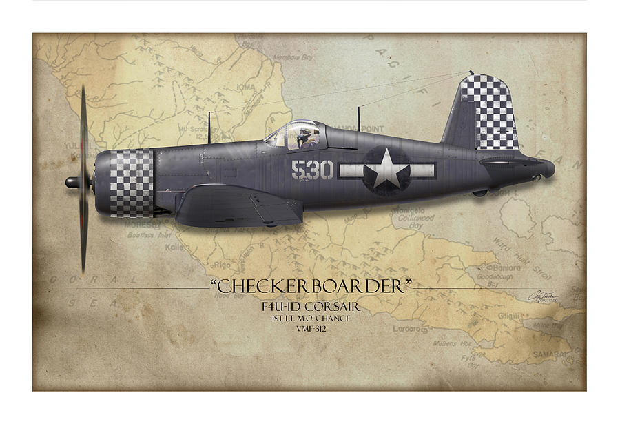 Aviation Painting - Checkerboarder F4U Corsair - Map Background by Craig Tinder