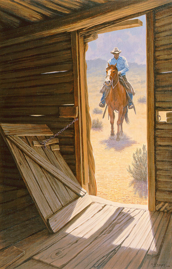 Cowboy Painting - Checking The Line Cabin by Paul Krapf