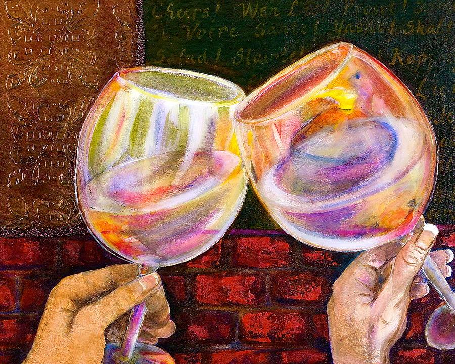Wine Painting - Cheers by Debi Starr