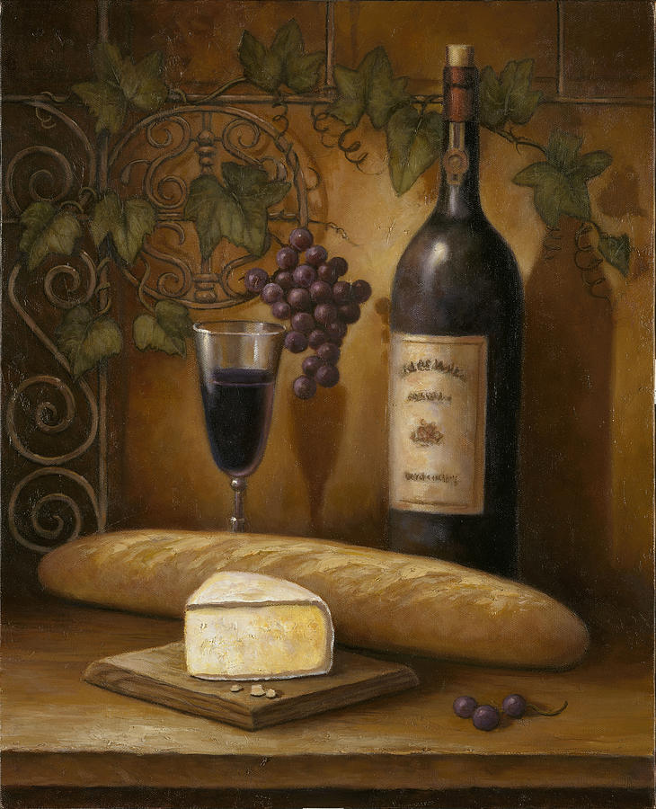 Chef Painting - Cheese And Wine by John Zaccheo