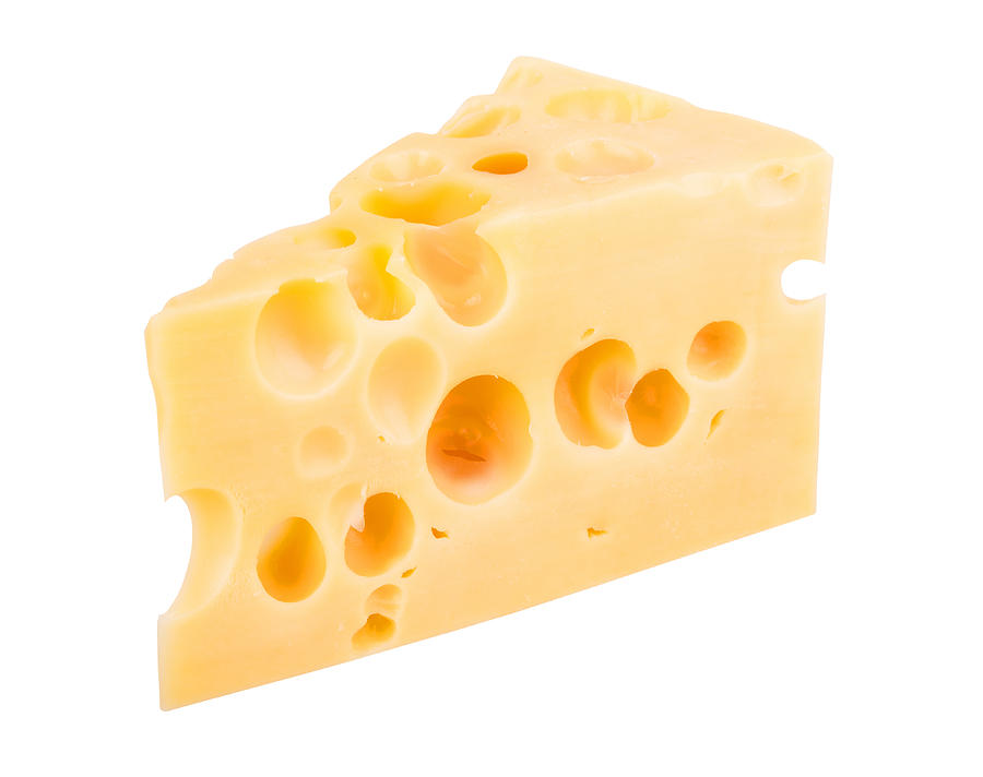 Cheese chunk isolated on white background Photograph by Yevgen Romanenko