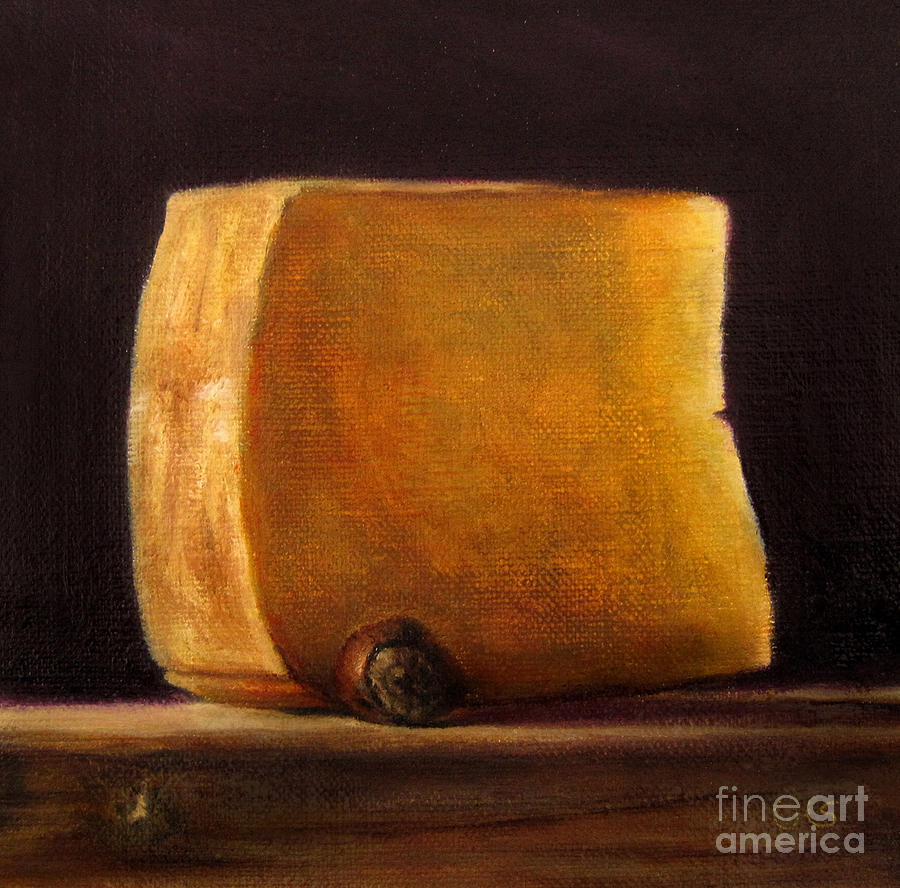 Still Life Painting - Cheese with Hazelnut by Ulrike Miesen-Schuermann