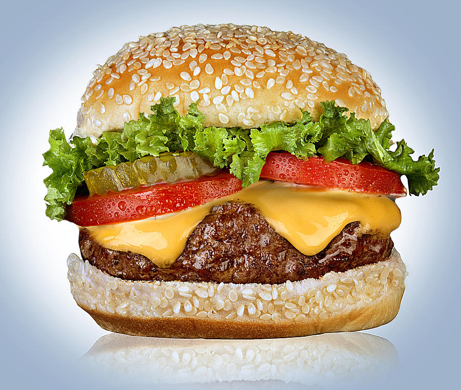 Cheeseburger on white Photograph by ATU Images
