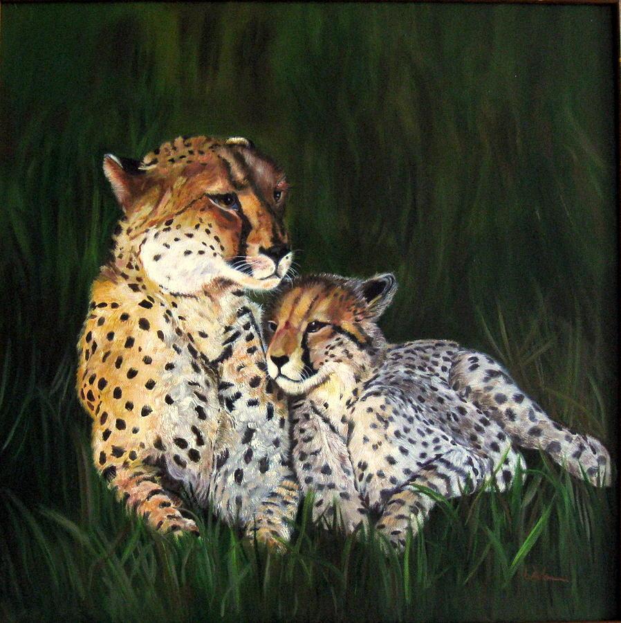 Cheetahs Painting - Cheetahs by LaVonne Hand