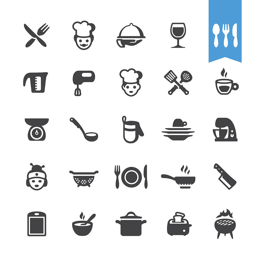 Chef Cooking Vector Icons Drawing by Lushik