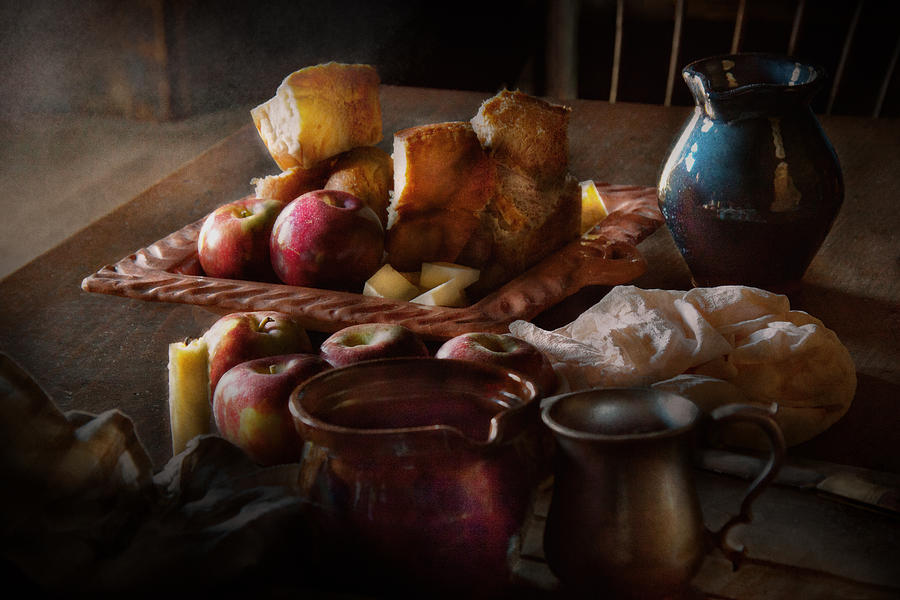 Chef Photograph - Chef - Food - A tribute to Rembrandt - Apples and Rolls  by Mike Savad