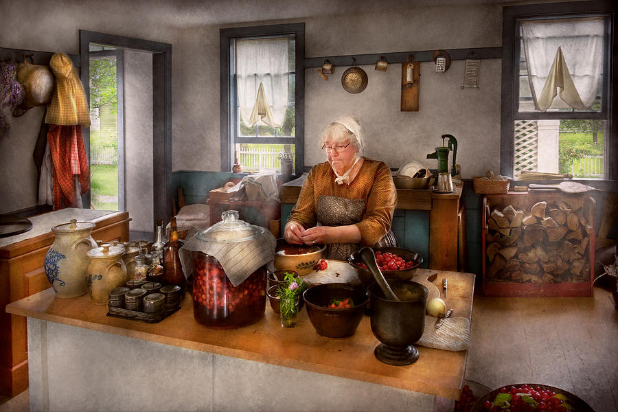 Savad Photograph - Chef - Kitchen - Cleaning Cherries  by Mike Savad