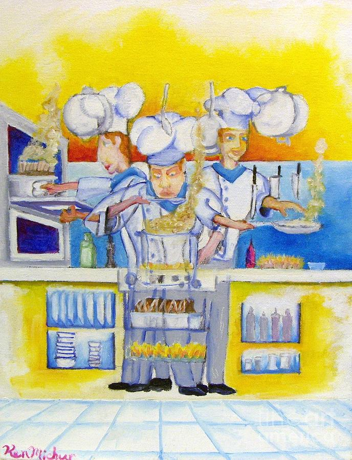 Chefs Kitchen Painting by Kenneth Michur