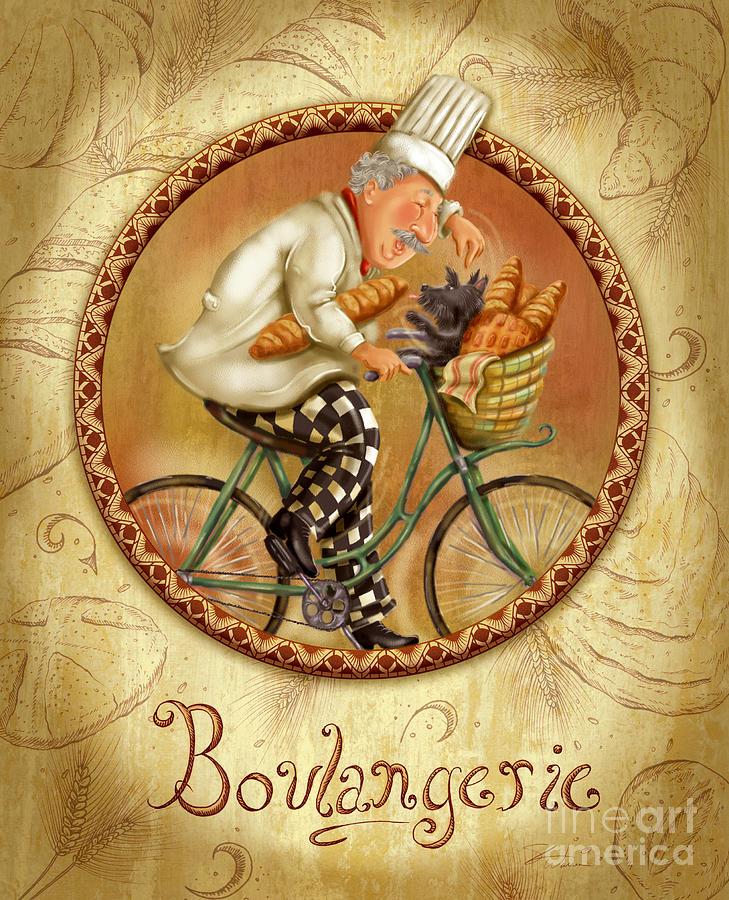 Chefs on bikes boulangerie mixed media by shari warren - Laminas para cuadros de cocina ...