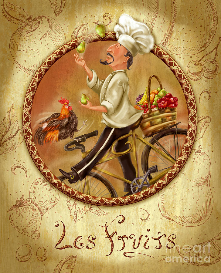 Chefs on bikes les fruits mixed media by shari warren - Cuadros posters laminas ...
