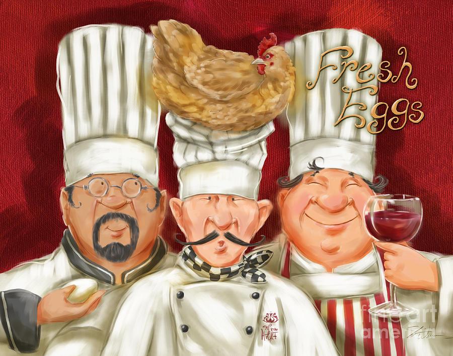 Waiter Mixed Media - Chefs With Fresh Eggs by Shari Warren