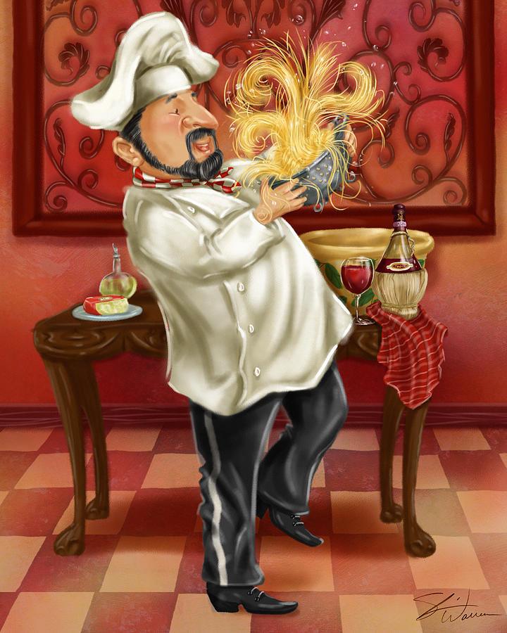 Kitchen Art America Inc: Chefs With Wine IIi Mixed Media By Shari Warren