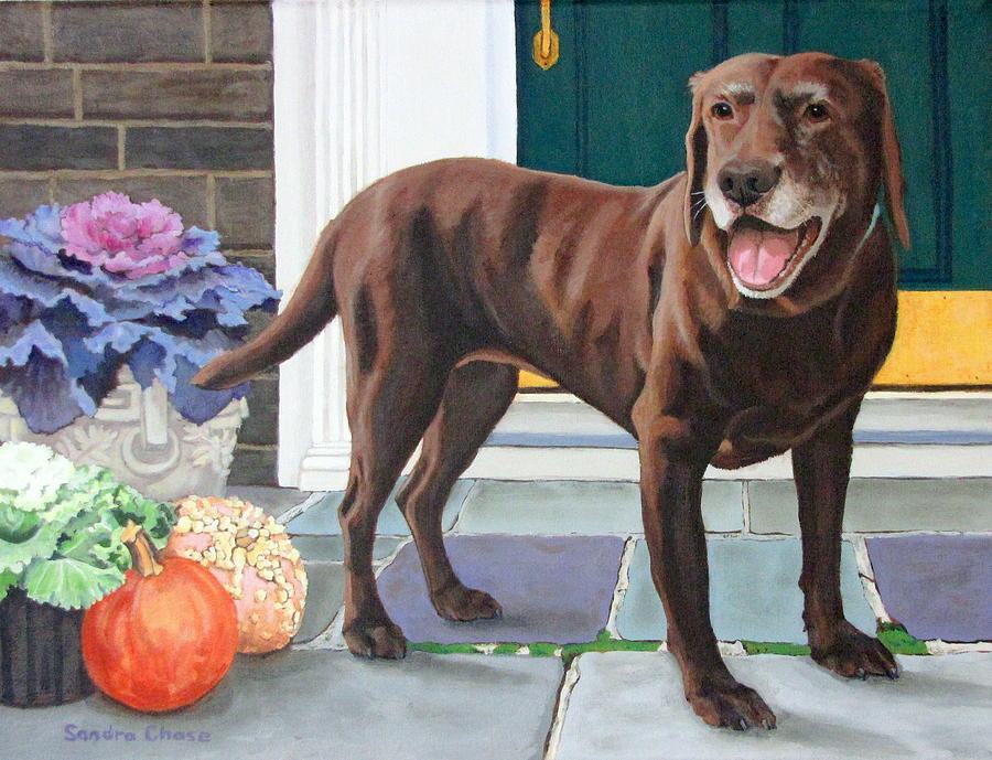 Dog Painting - Chelsea At The Door by Sandra Chase