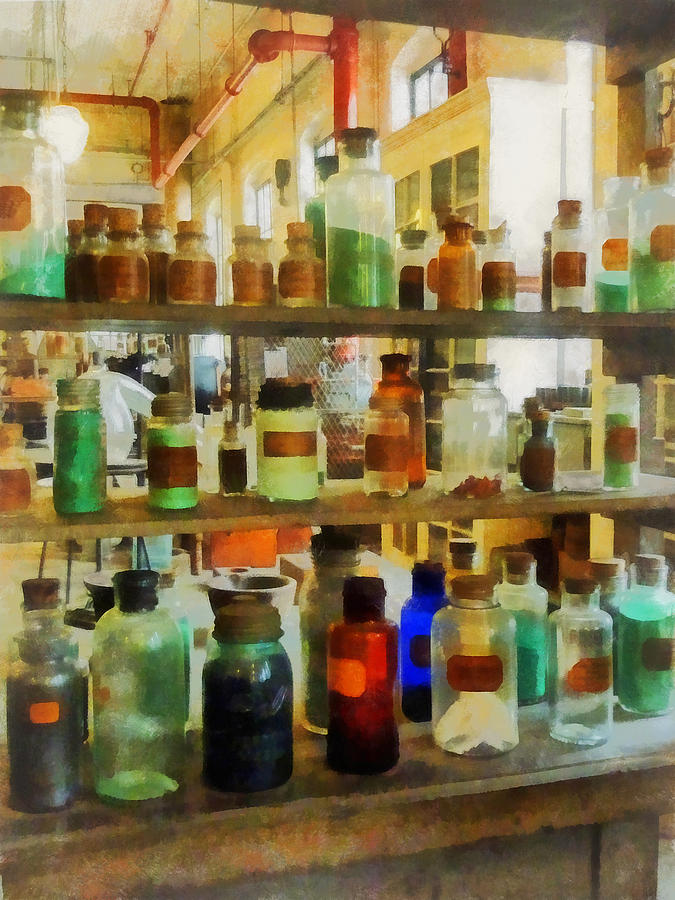 Science Photograph - Chemistry - Bottles Of Chemicals Green And Brown by Susan Savad