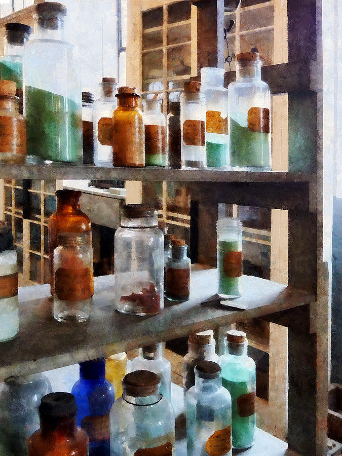 Science Photograph - Chemistry - Bottles Of Chemicals by Susan Savad