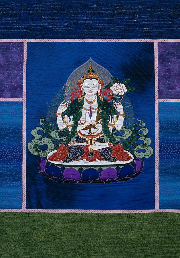 Buddha Tapestry - Textile - Chenrezig by Leslie Rinchen-Wongmo