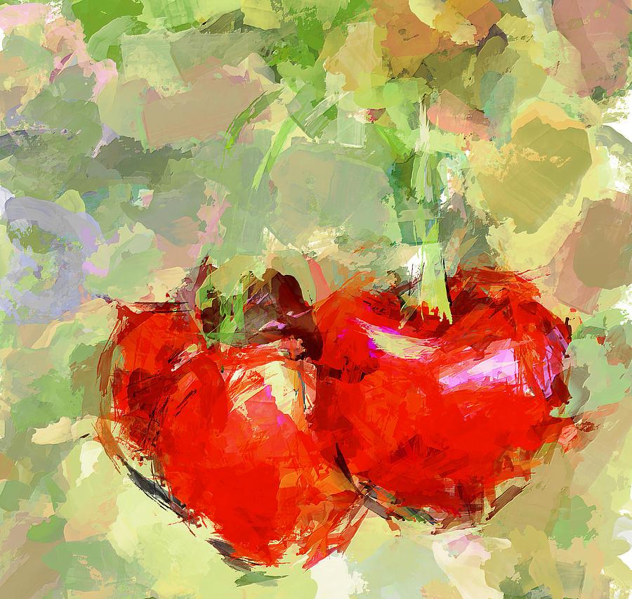 Still Life Digital Art - Cherries Abstract by Yury Malkov