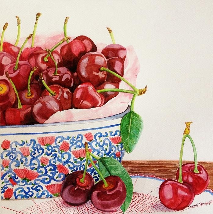 Cherry Painting - Cherries In My Favorite Bowl by Sonali Sengupta