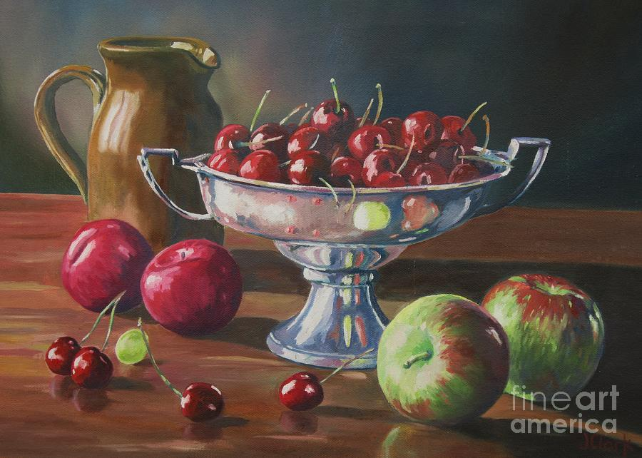 Still Life Painting - Cherries In Silver Bowl by John Clark