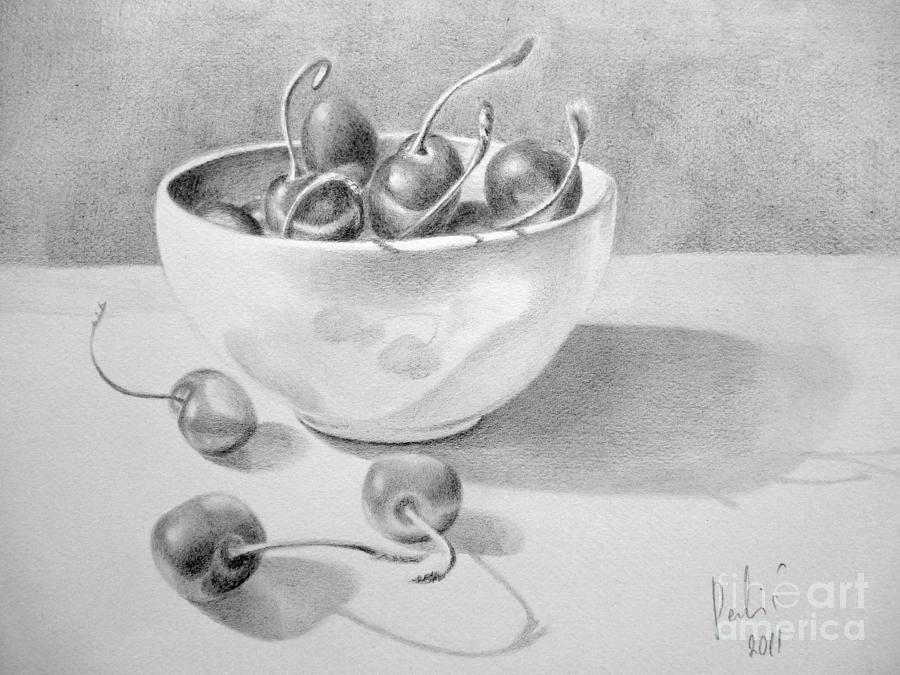 Cherry Painting - Cherries In White Bowl by Eleonora Perlic