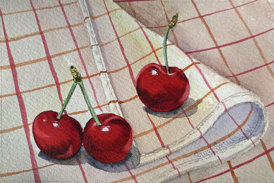 Watercolor Paintings Painting - Cherry Talk By Irina Sztukowski by Irina Sztukowski
