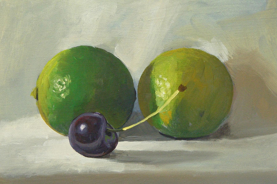 Cherry Painting - Cherry And Limes by Peter Orrock
