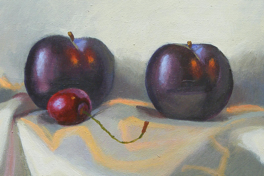 Cherry Painting - Cherry And Plums by Peter Orrock